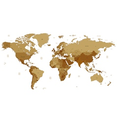 Brown detailed World map vector image