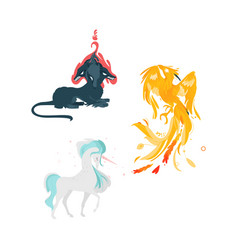 flat cartoom myhical animals set vector image