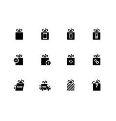 Gift icons set on white background vector image