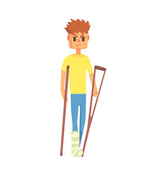 guy with broken leg on crouches adult person vector image