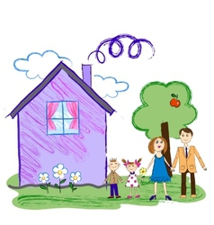 Kids sketch of happy family with house vector