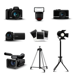 Realistic Camera Icons vector image