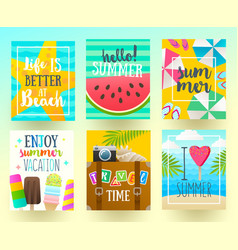 set of summer holidays and vacation posters vector image vector image