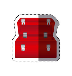 sticker colorful red tool box vector image
