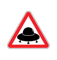 Ufo warning sign yellow aliens hazard attention vector