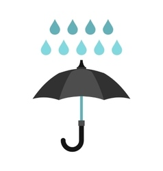 Umbrella and rain icon flat style vector image