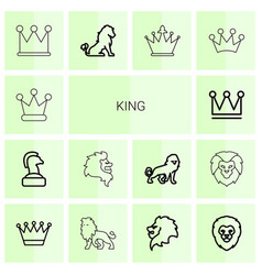 14 king icons vector image