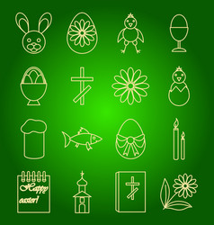 A set of icons of easter symbols vector