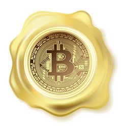 abstract golden seal wax bitcoin vector image