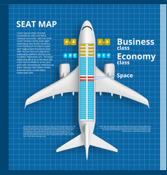 airplane seat map business or economy class card vector image