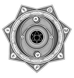 Alchemical symbols interaction sheme - stylized vector