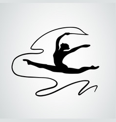 art gymnastics with ribbon abstract silhouette vector image