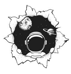 Astronaut in hole vector
