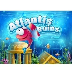 Atlantis ruins funny fish vector
