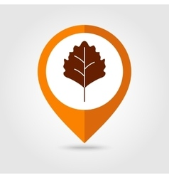 Autumn Leaves mapping pin icon vector image