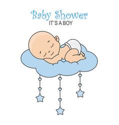 baby boy sleeping on the cloud vector image