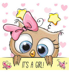Baby shower greeting card with owl girl vector