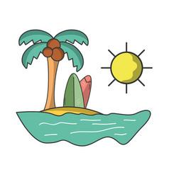 beach and surf cartoon vector image