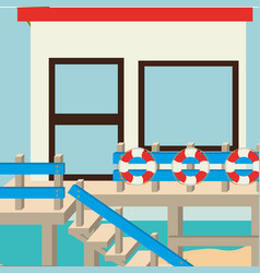 Beach landscape with lifeguard building vector