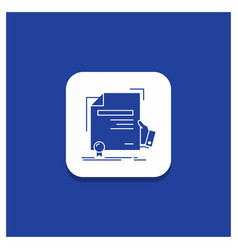 blue round button for certificate degree vector image