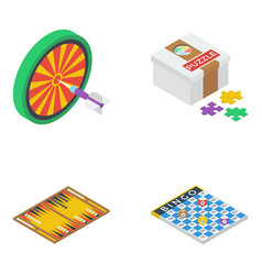 Board games isometric icons pack vector