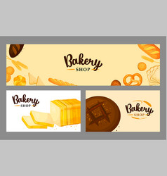 Bread banner set for bakery and pastry shop vector