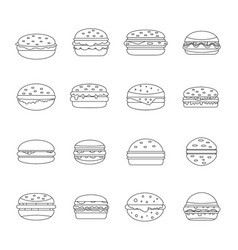 burger icons set outline style vector image