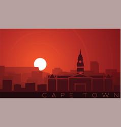 Cape town low sun skyline scene vector