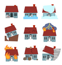 cartoon building disasters destruction icons set vector image