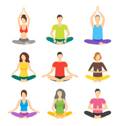 Cartoon meditation people signs icon set vector