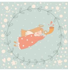 Cartoon of a very cute angel in a wreath vector