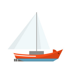 cartoon ship sailboat on a white background vector image