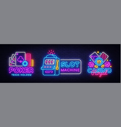casino neon sign collection design template vector image