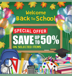 chalkboard back to school sale promotion poster vector image