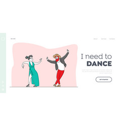 Characters perform modern dance landing page vector
