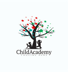 Child academy logo design kid education icon vector