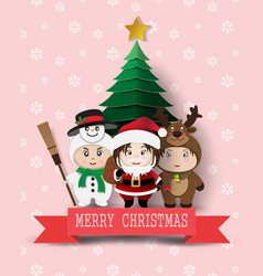 christmas cute kids vector image