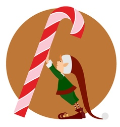 Christmas Elf and a big christmas candy vector