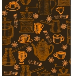 coffee background with utensils and spices vector image