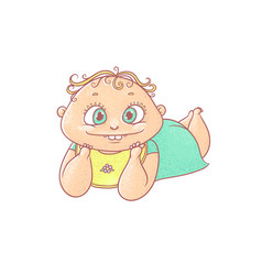 Color cartoon joyful child vector