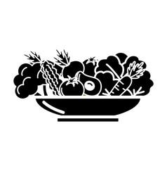 Contour delicious organ food inside of plate vector