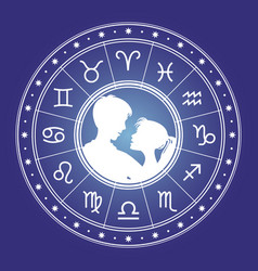Couple man and woman and horoscope vector
