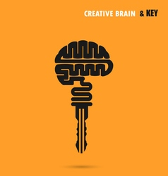 Creative brain sign with key symbol vector