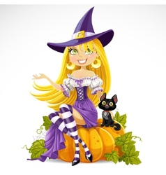 Cute young witch sits on a vector image