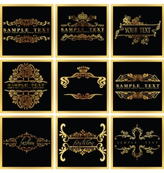 Decorative Ornate Golden Quad Frames vector image