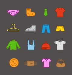 Different color clothes silhouettes collection vector