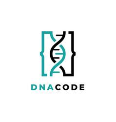 dna code logo design vector image