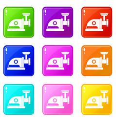 Electric grinder icons 9 set vector