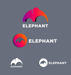 Elephant mammoth flat logo set vector