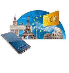European union mobile service vector